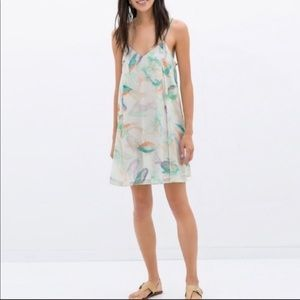 Zara Basic watercolor print slip dress